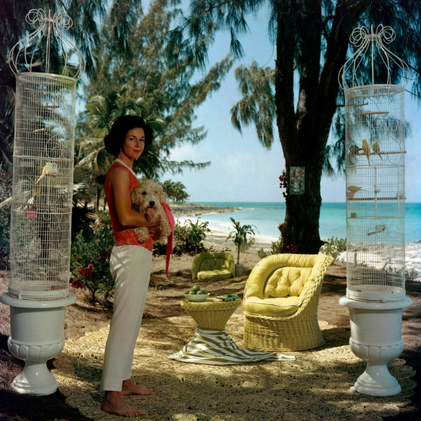 Gloria Schiff with her pet dog and pet birds at Lyford Cay in the Bahamas.